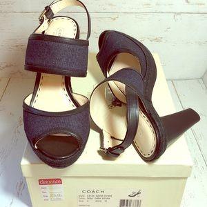 Coach Daria Denim Dark Denim Platform Sandals